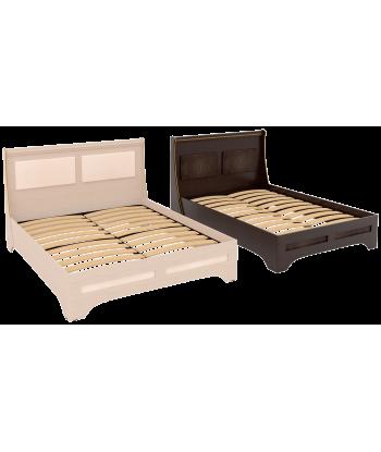 Кровать двуспальная КР-05.1600 Элегант. Дуб молочный, венге.