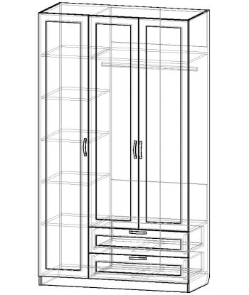 Шкаф для одежды ШО-1200.3 серии New Line (схема)