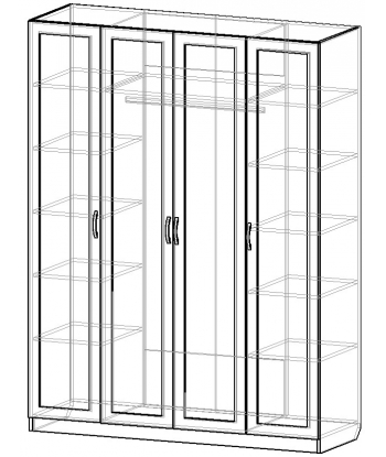 Шкаф для одежды ШО-1600.1 серии New Line (схема)