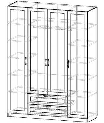 Шкаф для одежды ШО-1600.3 серии New Line (схема)