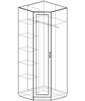 Угловой шкаф для одежды ШО-800УГ серии New Line (схема)